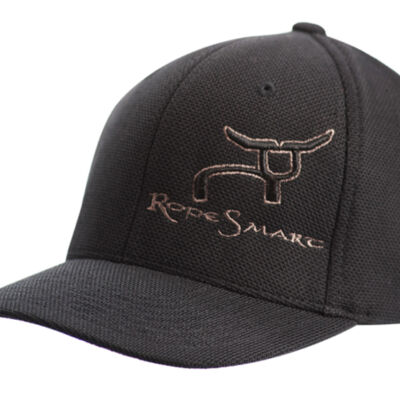 RS All Black Fitted Cap with Gray Steer