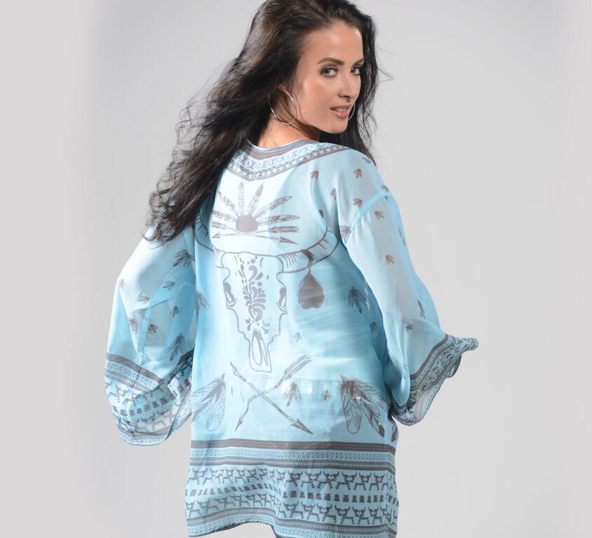 Varianna Sheer Teal Kimono