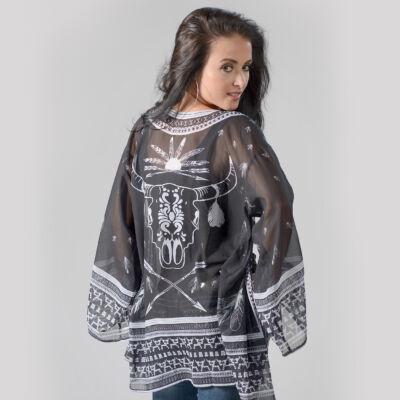 Varianna Sheer Black Kimono