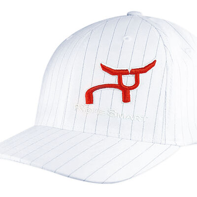 RS White Fitted Cap with Black Pinstripes